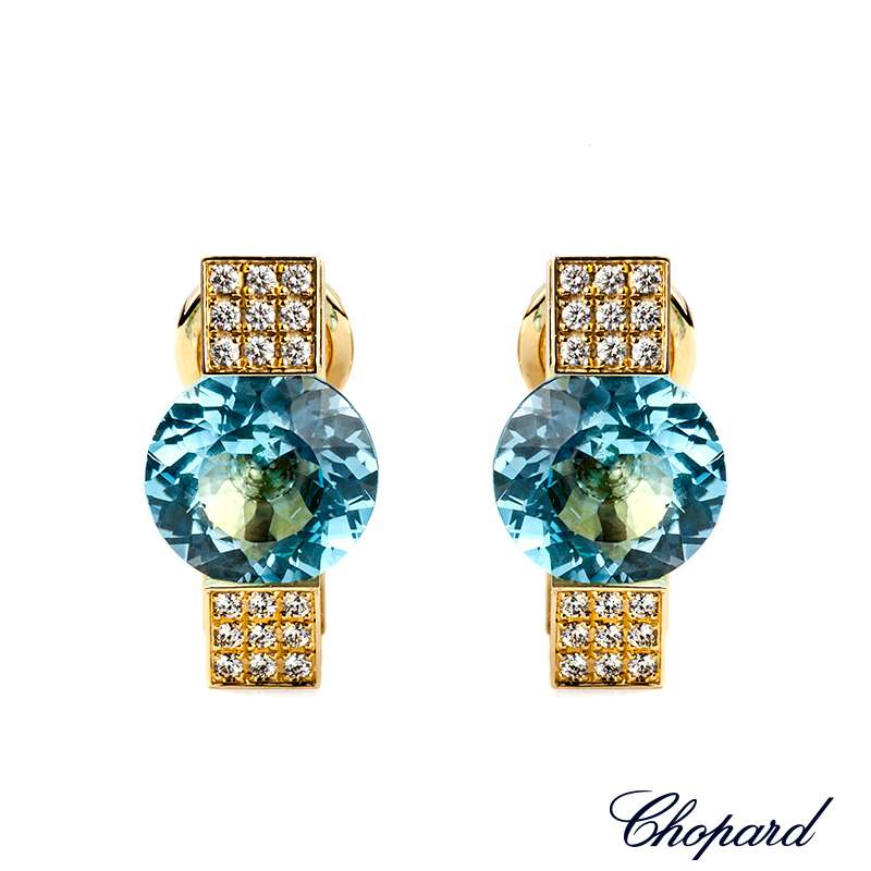 Chopard 18k Yellow Gold Diamond and Topaz Earclips B&P 843975-0005